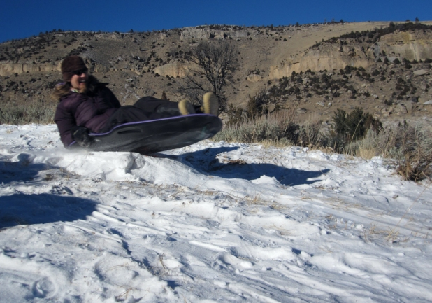 Catching air on the sled hill.
