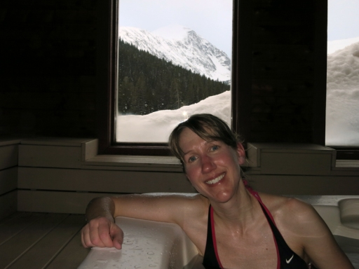 Relaxing in the hot tub after our hike with a perfect view of the peak.