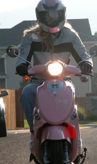 Heading to work on my scooter.
