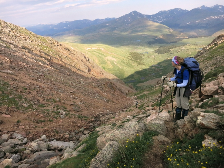 Taking a breather and soaking in the view after hoofing it up a steep gully on our acent of Mt. Evans with a 45 pound pack.