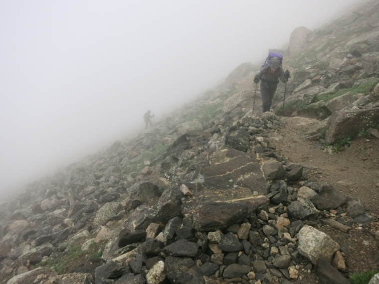 Ascending Mt. Yale with my monster pack in some early morning fog.