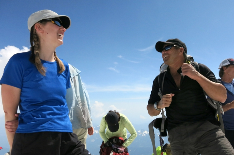 Chatting with Phil Ershler, co-owner of International Mountain Guides, at a rest break.