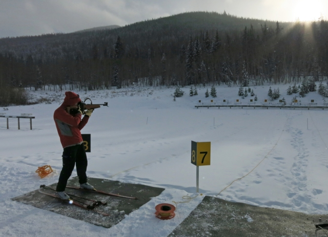 Doug taking aim at the biathlon range.