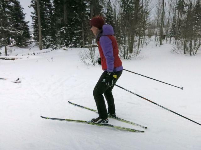 Getting a feel for my skinny skis.