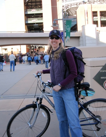 My first bike ride at six months post-op: a short jaunt to see a Rockies game. It did hurt my healing butt a bit, but was tolerable.