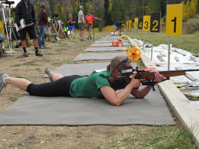 Here I am shooting in prone position. The ability to use one's elbow for support makes the it a little easier to hit the targets when I am breathing hard.