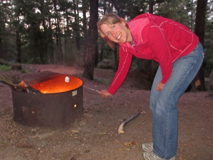 This photo isn't from our winter vacation but does show my love for marshmallows. They are best over a campfire, but I will happily eat them cold before a 5 a.m. appliance change.