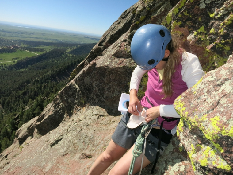 Swapping out a closed-end pouch on a climb up the FIrst Flatiron this summer was easy.