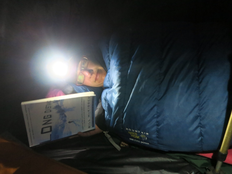 It feels great to relax in my sleeping bag knowing I am not going to have to hike off into the dark woods to empty.