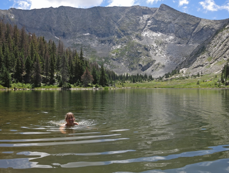 However, the clouds did part enough that I got some glorious backcountry lake swimming in.