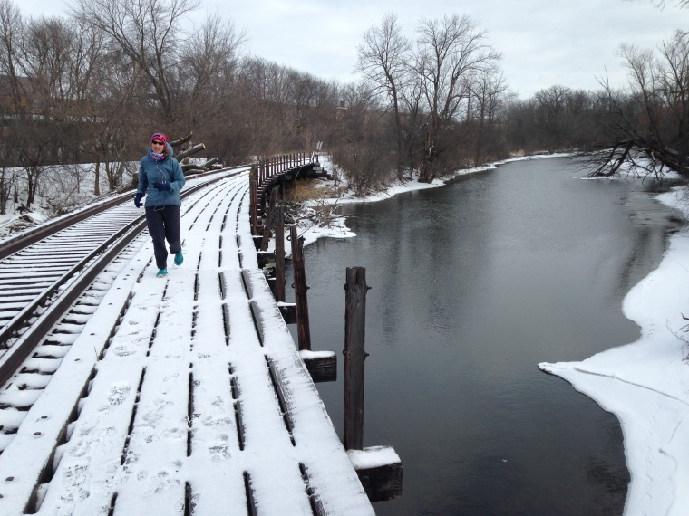 Running along the trestle at the Fox River Sanctuary where I used to walk with my dad.