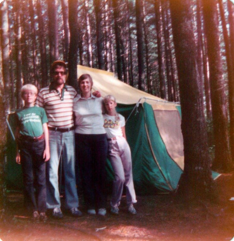 My family tent camping in the Wisconsin Northwoods.